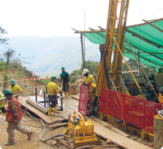 Drilling at the Crater Mountain Gold Project which is not far from the town of Goroka.