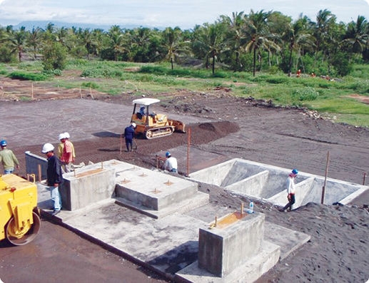 Foundations for the ball mill at Indo Mines' Pig Iron Project in south central Java.