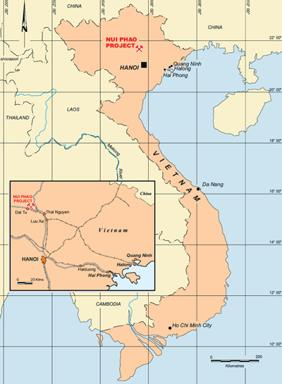 The Nui Phao Project is in Thai Nguyen province in northern Vietnam.