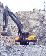 A Volvo EC 480D excavator is used at the PT Krakatau POSCO steel plant in Cilegon with a magnet attachment.